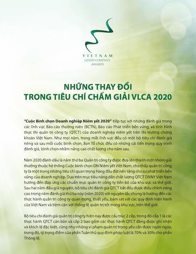 Những thay đổi trong tiêu chí chấm giải VLCA 2020